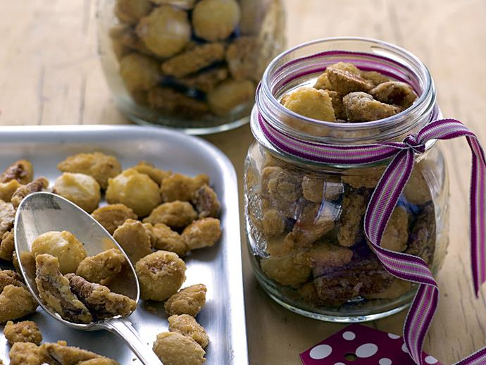 "**[Crunch sugared nuts](https://www.womensweeklyfood.com.au/recipes/crunch-sugared-nuts-23865|target=""_blank"")**"