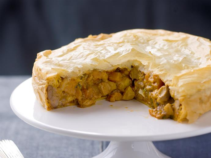 "[Curried chicken and filo pastry pie](https://www.womensweeklyfood.com.au/recipes/curried-chicken-pie-27175|target=""_blank"")"