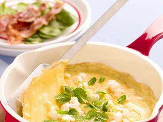 FETTA AND MINT OMELETTES WITH CRISP BACON