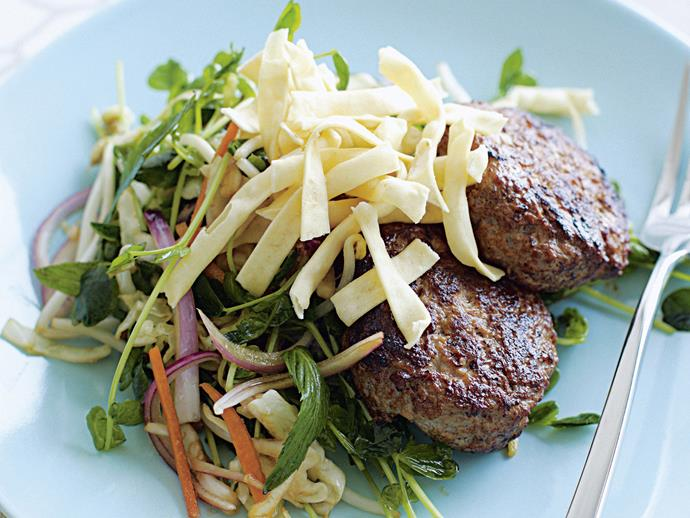 "**[Hoisin pork rissoles with asian coleslaw](https://www.womensweeklyfood.com.au/recipes/hoisin-pork-rissoles-with-asian-coleslaw-28188|target=""_blank"")**  Sweet and spicy, crunchy and tender blend in this flavoursome Chinese dish of pork rissoles in hoisin sauce with coleslaw and crisp noodles."