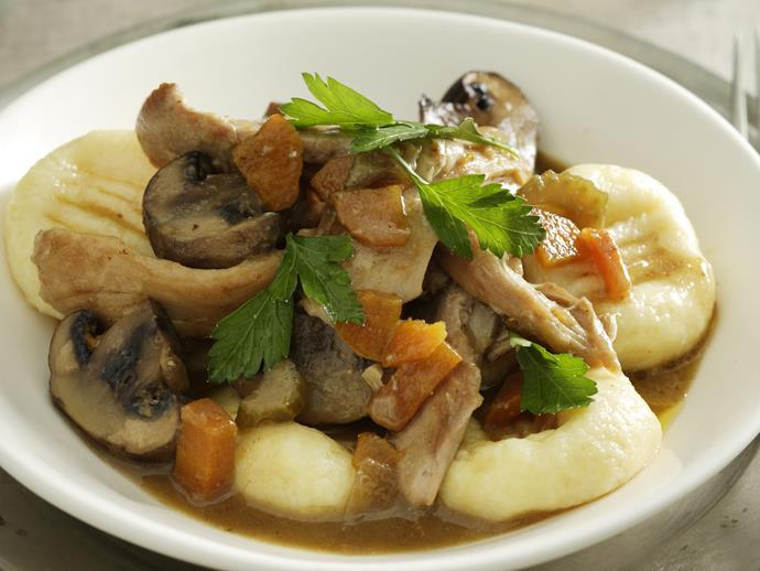 "**[Home-made gnocchi with chicken and mushrooms](https://www.womensweeklyfood.com.au/recipes/home-made-gnocchi-with-chicken-and-mushrooms-23882|target=""_blank"")**"