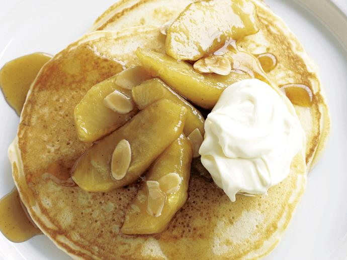 [Hotcakes with caramelised apples](http://www.foodtolove.com.au/recipes/hotcakes-with-caramelised-apples-3604).