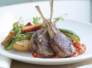 LAMB CUTLETS WITH CAPSICUM SAUCE AND WEDGES