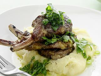 Lamb Cutlets with Chunky Salsa Verde and Parsnip Puree