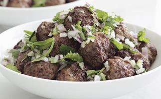 Lamb meatballs with mint and coriander chutney