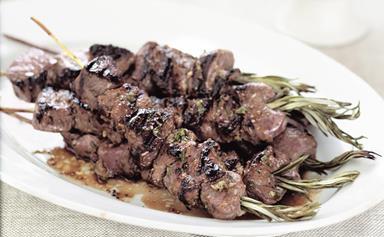 Lamb on rosemary skewers with tzatziki