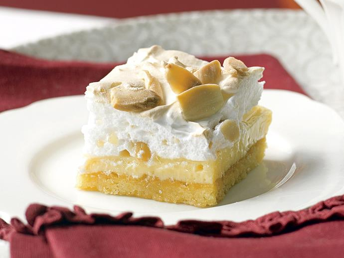 "**[Lemon and almond meringue slice](https://www.womensweeklyfood.com.au/recipes/lemon-and-almond-meringue-slice-23889|target=""_blank"")**"