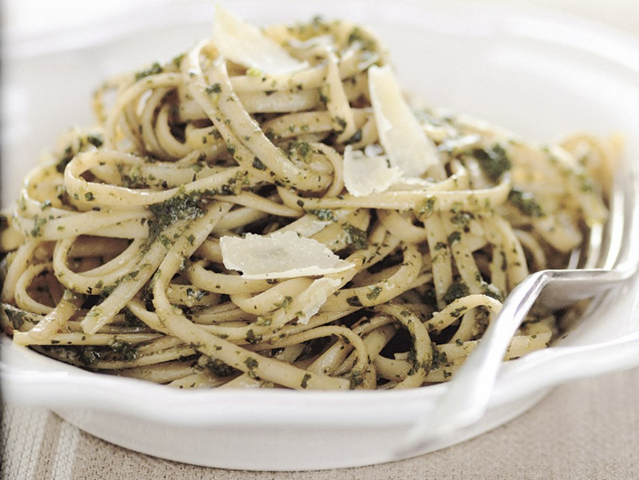 "Our **[linguine pesto](https://www.womensweeklyfood.com.au/recipes/linguine-pesto-26573|target=""_blank"")** is quick, simple and brimming with flavour."