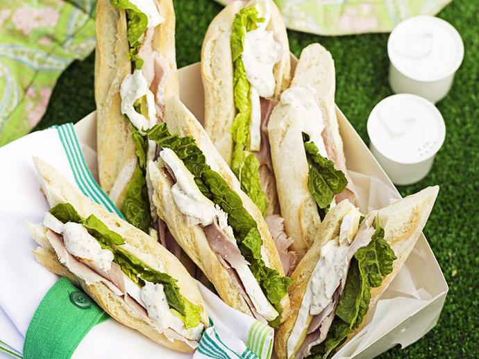 "**[Mini baguettes with leg ham, brie and mustard mayo](https://www.womensweeklyfood.com.au/recipes/mini-baguettes-with-leg-ham-brie-and-mustard-mayo-27593|target=""_blank"")**  Pretend your strolling through the Place de la Concorde with fresh baguettes and creamy brie, complete with leg ham and delicious mustard mayo."