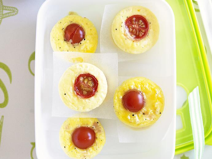 "**[Mini ham, cheese and tomato frittatas](https://www.womensweeklyfood.com.au/recipes/mini-ham-cheese-and-tomato-frittatas-28199|target=""_blank"")**  Light, fluffy and packed full of creamy melted cheese and fresh ham, these mini frittatas are easy to make and perfect for a quick breakfast or on-the-go lunch."