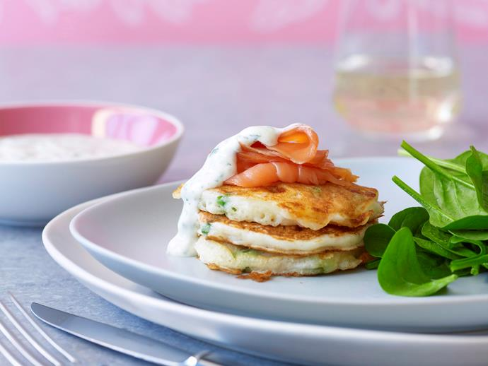 "**[Mixed vegetable fritters with smoked salmon](https://www.womensweeklyfood.com.au/recipes/mixed-vegetable-fritters-with-smoked-salmon-26587|target=""_blank"")**  These vegetable pancakes are topped with smoked salmon and covered in a minty, herb yoghurt - perfect for a wholesomely light lunch, brunch or snack."