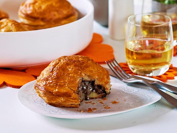 "**[Mushroom, leek and potato pithiviers](https://www.womensweeklyfood.com.au/recipes/mushroom-leek-and-potato-pithiviers-28070|target=""_blank"")**  These creamy vegetarian delights bring a gourmet twist to the traditional Aussie pie. Leek, potatoes and mushroom ooze from these pithiviers while puffed pastry melts in your mouth."