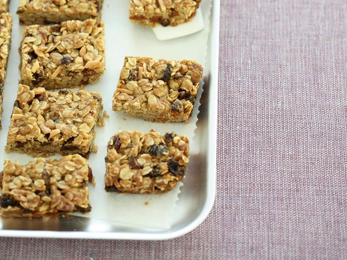 "**[Oat and fruit slice](https://www.womensweeklyfood.com.au/recipes/oat-and-fruit-slice-28145|target=""_blank"")**  A toasty combination of wholesome rolled oats with dried fruit makes a feel-good treat for a morning and afternoon tea, or lunchbox snack for your kids."
