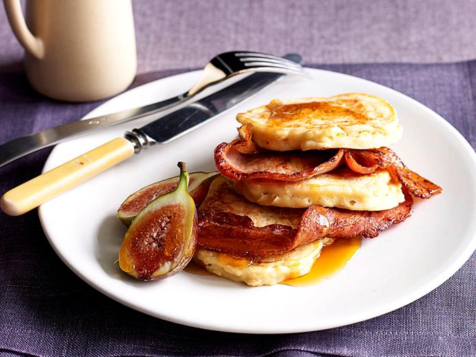 "These fluffy [oat and buttermilk pancakes](https://www.womensweeklyfood.com.au/recipes/oat-pancakes-with-bacon-and-figs-23923|target=""_blank"") marry crispy bacon and fresh figs for the perfect combination of sweet and savoury. For the final touch, add a drizzle of maple syrup."