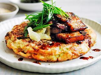 Okonomiyaki with sticky soy pork belly