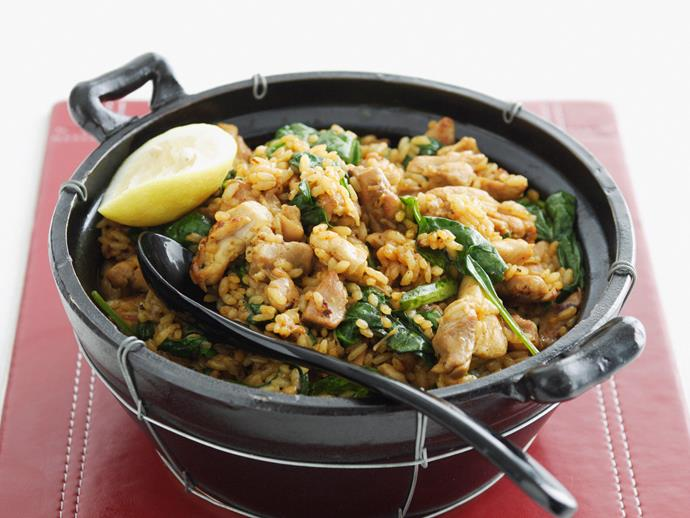 """**[One-dish curried chicken with rice](https://www.womensweeklyfood.com.au/recipes/one-dish-curried-chicken-with-rice-27378