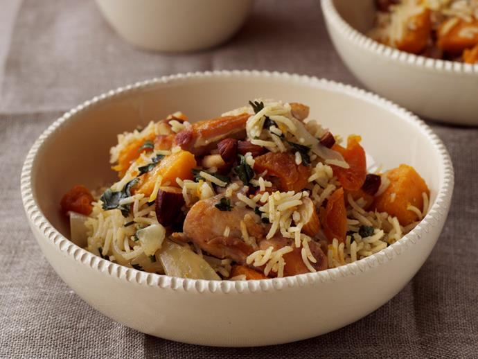 "**[One-pot spiced chicken, pumpkin and rice](https://www.womensweeklyfood.com.au/recipes/one-pot-spiced-chicken-pumpkin-and-rice-23260|target=""_blank"")**"