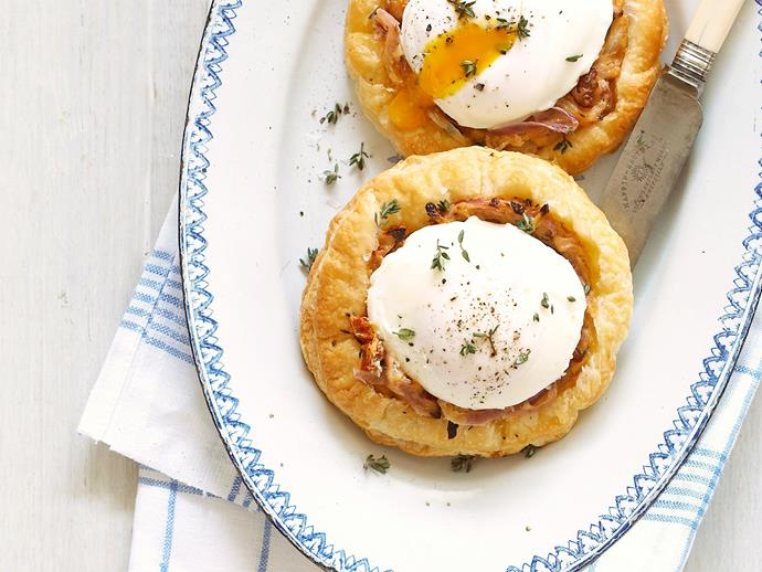 "**[Onion tart with poached egg](https://www.womensweeklyfood.com.au/recipes/onion-tart-with-poached-egg-23261|target=""_blank"")**"