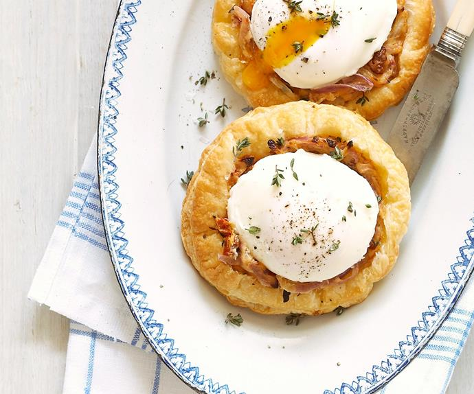 Onion Tart with Poached Egg