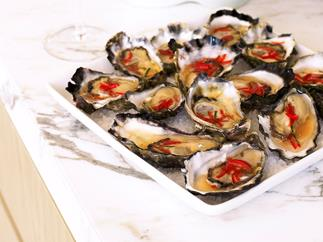 oysters with lime dressing