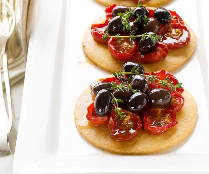 Parmesan, tomato and olive tarts