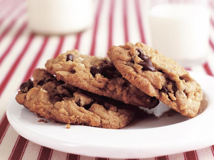 """**[Peanut butter choc chunk cookies](https://www.womensweeklyfood.com.au/recipes/peanut-butter-choc-chunk-cookies-26607