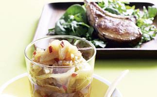 Pear Chutney with Char-Grilled Pork Cutlet