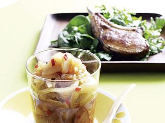 Pear Chutney with Char-Grilled Pork Cutlet