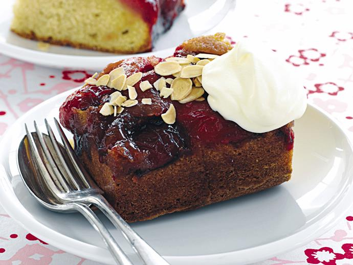 "**[Plum and almond upside-down cake](https://www.womensweeklyfood.com.au/recipes/plum-and-almond-upside-down-cake-28441|target=""_blank"")**  Turn your day around with this sublime vanilla butter cake, topped with juicy plums and flaky almonds."