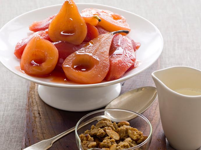 """**[Poached pear and quince with almond crumble](https://www.womensweeklyfood.com.au/recipes/poached-pear-and-quince-with-almond-crumble-23270