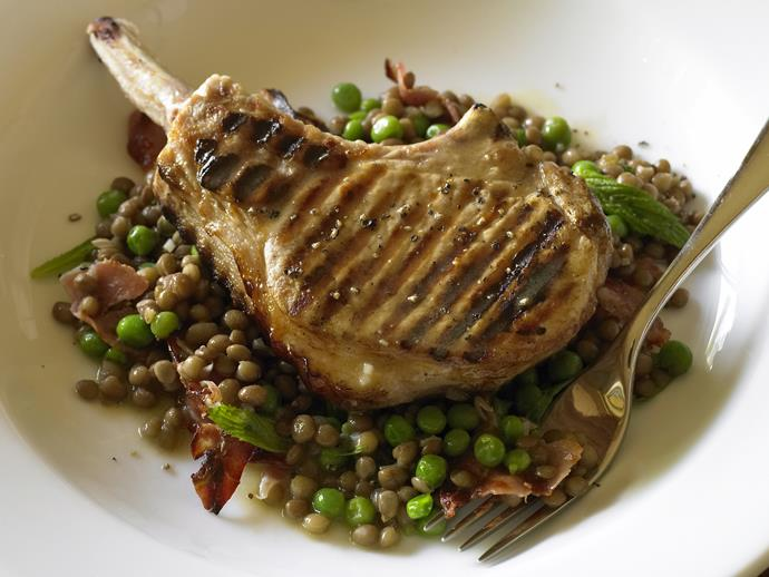 """**[Pork cutlets on lentils and pancetta](https://www.womensweeklyfood.com.au/recipes/pork-cutlets-on-lentils-and-pancetta-26612