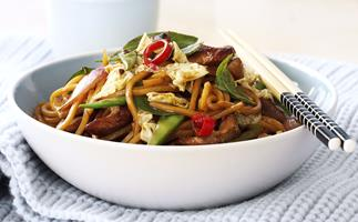 Pork, Noodle and Thai Basil Stir-Fry