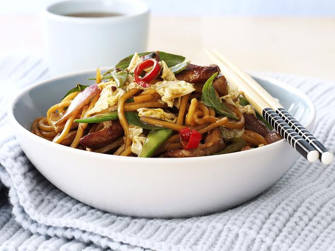 "**[Pork, noodle and Thai basil stir-fry](https://www.womensweeklyfood.com.au/recipes/pork-noodle-and-thai-basil-stir-fry-26614|target=""_blank"")**  Whip up this flavour-packed pork stir-fry for a fast, filling weeknight dinner."