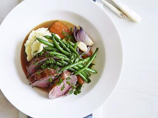 pot roast lamb with potato celeriac mash