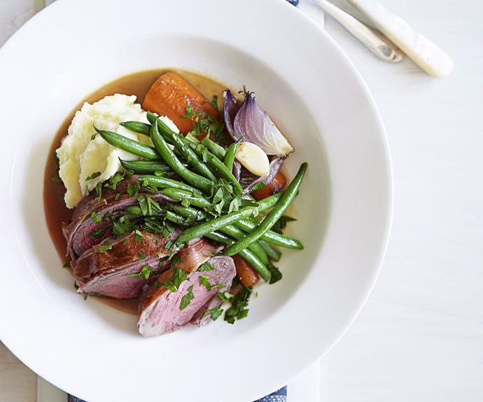 pot roast lamb with potato celeriac mash