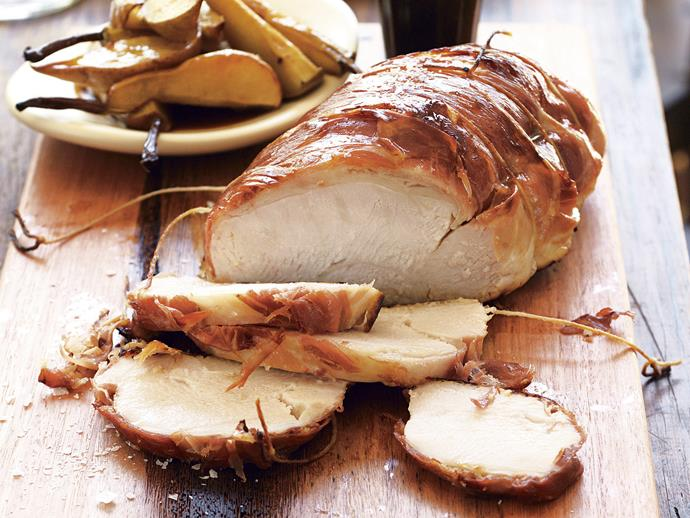 """**[Prosciutto-wrapped turkey with pears](https://www.womensweeklyfood.com.au/recipes/prosciutto-wrapped-turkey-with-pears-27717 target=""""_blank"""")**  This succulent oven-roasted turkey with salty prosciutto is served with tenderly cooked pears and a sauce made from sour, fruity juices. It's sure top enliven any festive feast."""