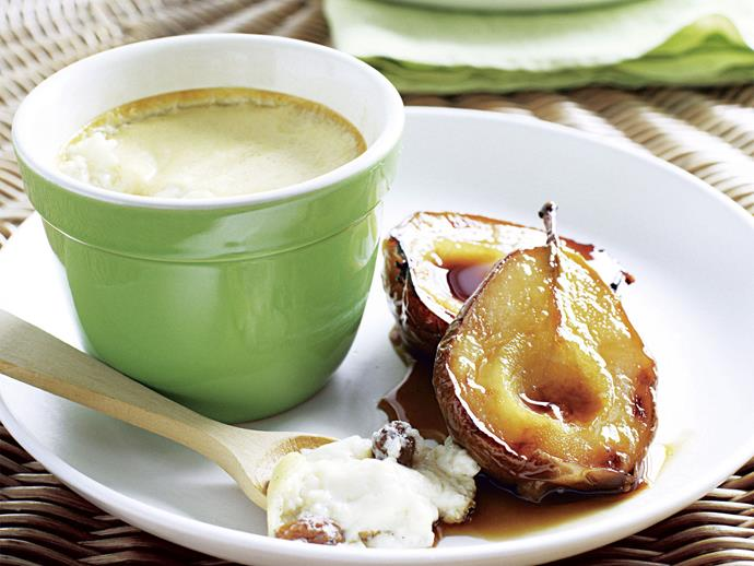 """**[Rice custard with caramelised pears](https://www.womensweeklyfood.com.au/recipes/rice-custard-with-caramelised-pears-26618 target=""""_blank"""")**  Add a twist to the standard rice pudding with the addition of sultanas and a side of rich caramelised pears."""