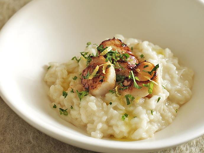 "**[Risotto with seared scallops](https://www.womensweeklyfood.com.au/recipes/risotto-with-seared-scallops-26619|target=""_blank"")**  Drink while you cook with this seafood risotto which makes use of some of your favourite ingredients: tender scallops and dry white wine."