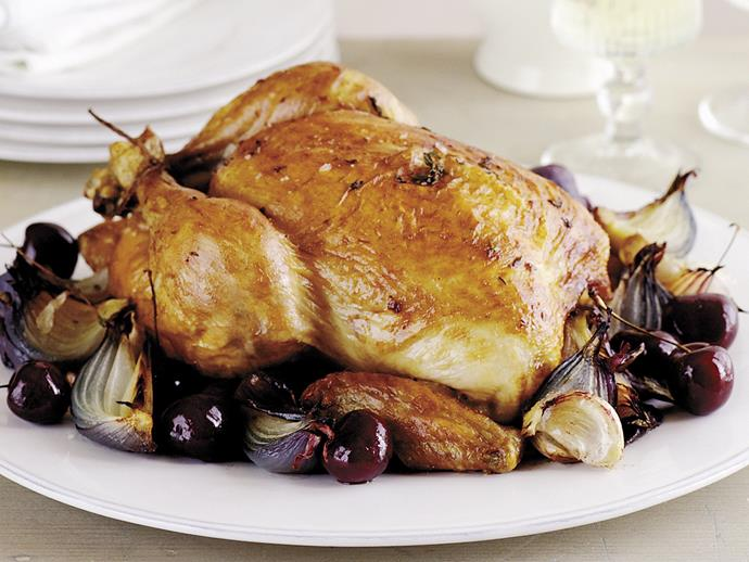 "**[Roast chicken with red onion, garlic and cherries](https://www.womensweeklyfood.com.au/recipes/roast-chicken-with-red-onion-garlic-and-cherries-23292|target=""_blank"")**"