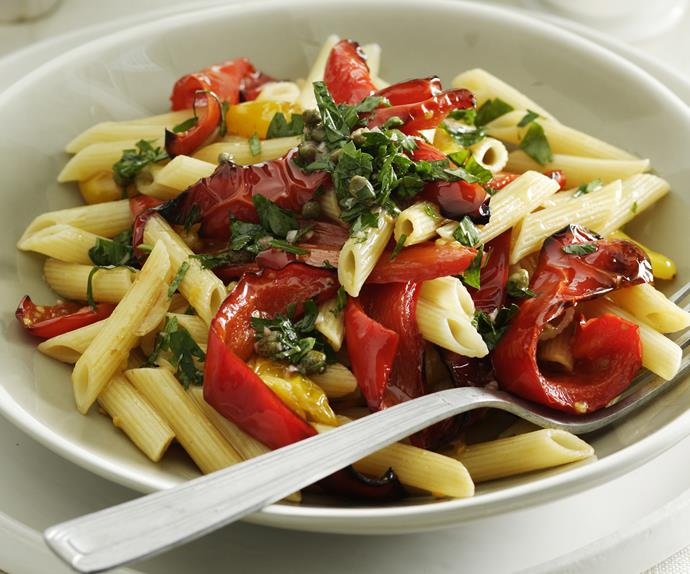 Roasted Capsicum and Tomato Pasta with Salsa Verde