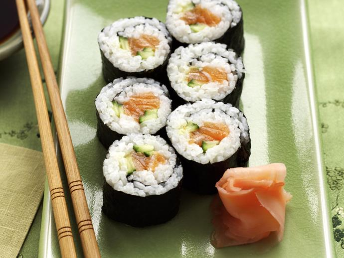 """Homemade [salmon and cucumber sushi](https://www.womensweeklyfood.com.au/recipes/salmon-and-cucumber-sushi-23297