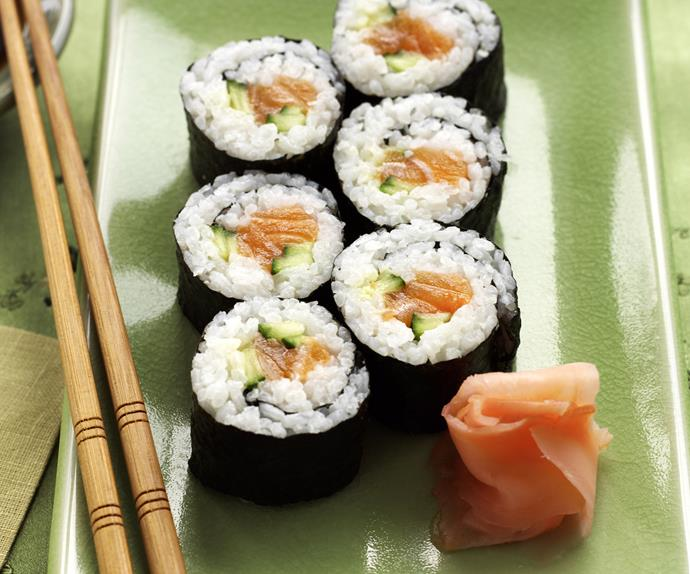 Salmon and Cucumber Sushi
