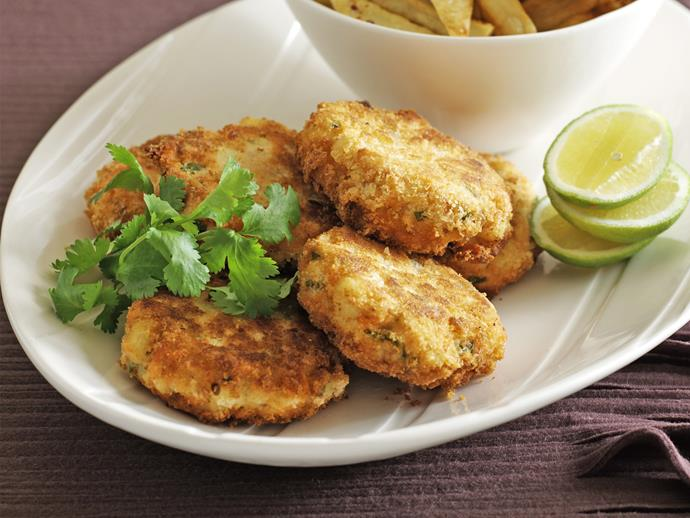 "**[Salmon cakes with chilli salt chips](https://www.womensweeklyfood.com.au/recipes/salmon-cakes-with-chilli-salt-chips-26623|target=""_blank"")**  Crunch your way through this spicy take on the classic fish and chips. These garlic-infused salmon cakes go perfectly with chilli chips; just squeeze some fresh lime over the top for a final zesty touch."