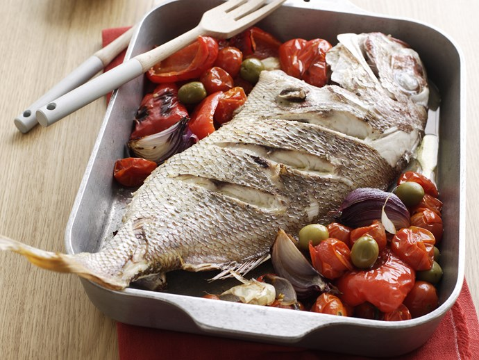[Snapper with roasted tomatoes, capsicums and olives](http://www.foodtolove.com.au/recipes/snapper-with-roasted-tomatoes-capsicums-and-olives-3245).