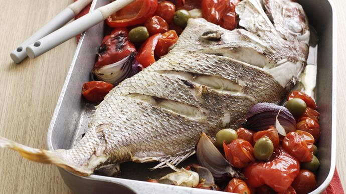 Snapper with roasted tomatoes, capsicums and olives