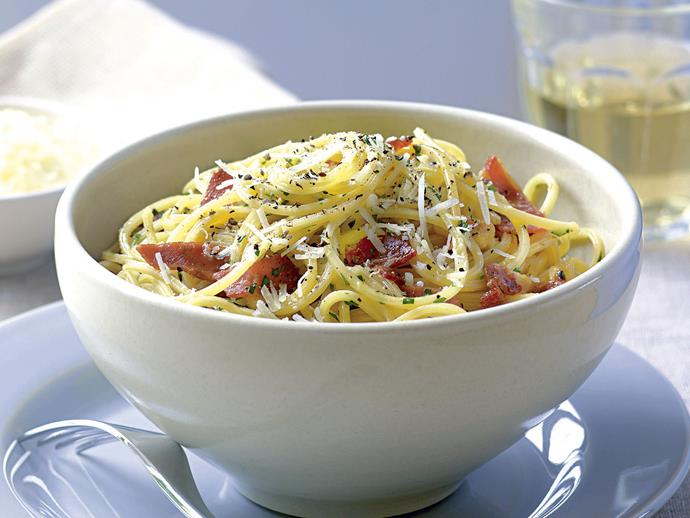 "**[Spaghetti carbonara](https://www.womensweeklyfood.com.au/recipes/spaghetti-carbonara-23307|target=""_blank"")**"