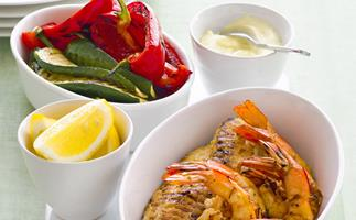 Spanish-Style Barbecued Seafood with Garlicky Mayonnaise