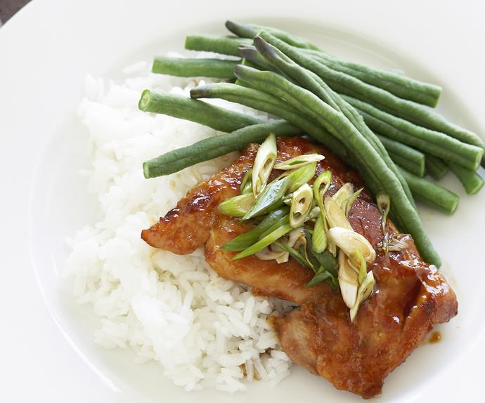 Steamed snake beans and Hoi Sin chicken