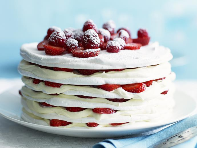"[Strawberries and cream meringue cake](http://www.womensweeklyfood.com.au/recipes/strawberries-and-cream-meringue-cake-23313|target=""_blank"")"