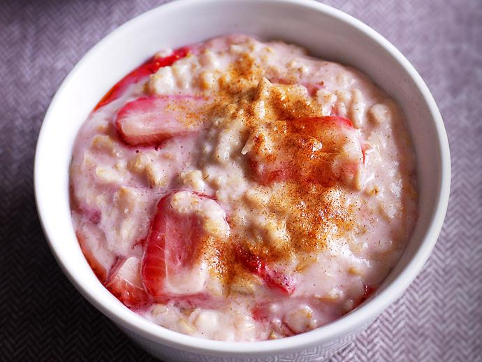 """This quick, wholesome and [fruity strawberry porridge](http://www.womensweeklyfood.com.au/recipes/strawberry-porridge-26628
